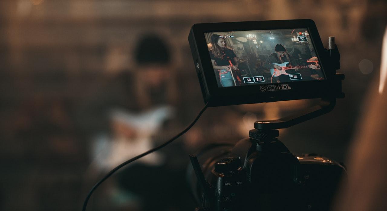 Close up of a camera recording