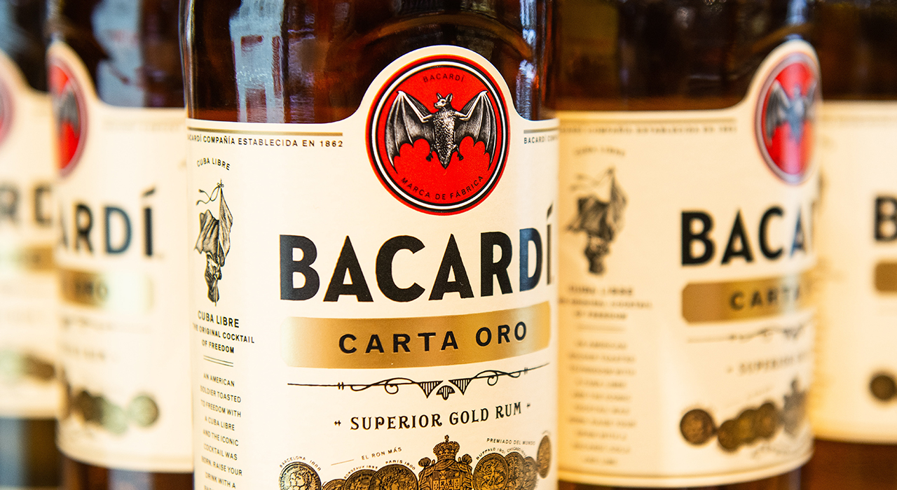 Bacardi bottles up close